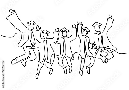 Fototapeta One line drawing of young happy graduate male and female college student jumping hand drawn continuous line art minimalism style on white background. Celebration concept. Vector sketch illustration obraz