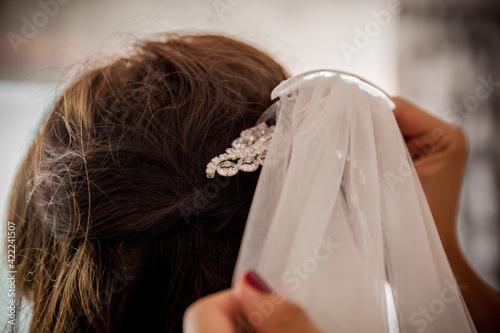 Obraz Ślub welon włosy biżuteria panna młoda piękno wesele - fototapety do salonu