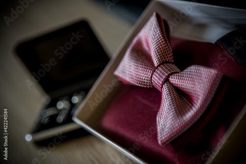 Obraz Muszka, krawat ślubny, męski ubiór, dekoracja ślubna, wesele  - fototapety do salonu