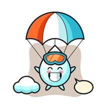 Milk Drop Mascot Cartoon Is Skydiving With Happy Gesture