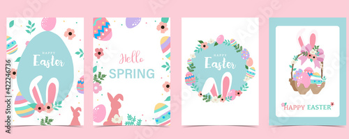 Canvastavla Collection of easter background set with rabbit,egg,flower