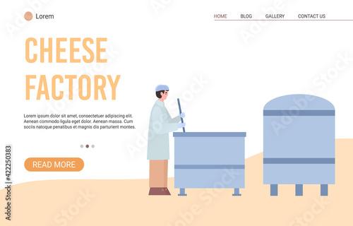 Obraz na plátně Technology process of cheese production on milk factory a vector illustration