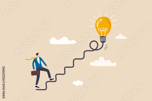Fotografia Creativity for business idea, thinking and brainstorm for new idea or opportunity, career path or goal achievement, businessman start walking on electricity line as stairway to big idea lightbulb