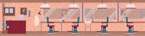 Interior of empty male beauty salon or room barbershop in the loft style.