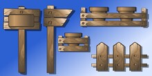 Vector Illustration. Set Of Wooden Objects Pointer, Fence, Box With Ceramic Pots