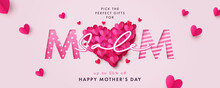 Happy Mothers Day Sale Banner. Holiday Background With Big Heart Made Of Pink And Red Origami Hearts On Soft Pink Background. Nodern Design For Poster, Flyer, Greeting Card, Header For Website