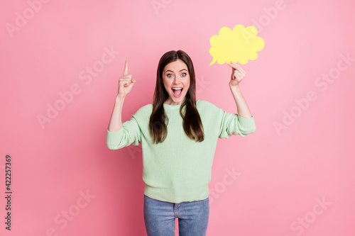 Fotografia Portrait of excited lady hold cloud figure direct finger up open mouth isolated