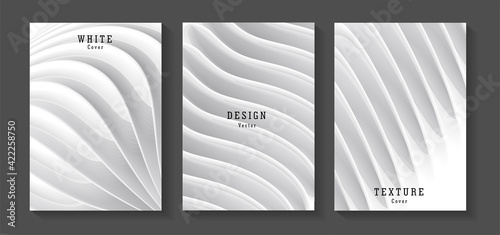 Fototapeta Set of white monochrome posters with 3d elements forming realistic structure or architecture texture, modern leaflet cover or banner backdrop obraz