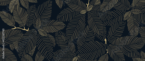 Fototapeta Tropical leaf Wallpaper, Luxury nature leaves pattern design, Golden banana leaf line arts, Hand drawn outline design for fabric , print, cover, banner and invitation, Vector illustration. obraz