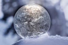 Close Up Frozen Soap Bubble With Bokeh
