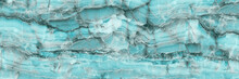 Marble Granite Aqua Blue Panorama Background Wall Surface Pattern, Close Up Blue Surface Texture Of Elegance Stone Used For Background. Emperador Marbel Slab, Onyx Marble Texture And Luxury Granit.