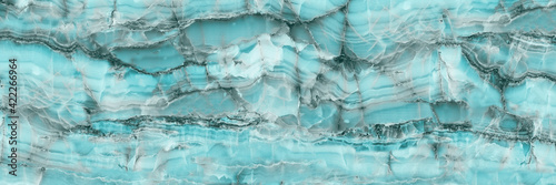 Wallpaper Mural Marble granite aqua blue panorama background wall surface pattern, close up blue surface texture of elegance stone used for background