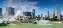 Buckingham Fountain And Chicago City At Sunny Day, Chicago, Illinois, USA.