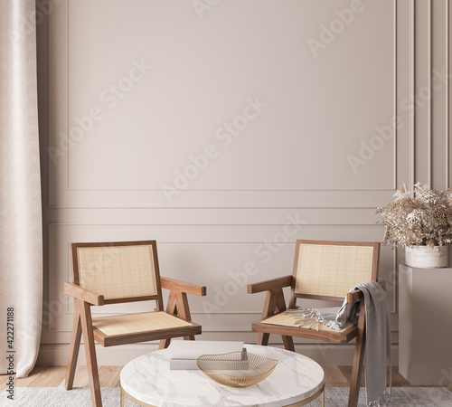 Fototapeta Scandinavian living room interior mockup, natural wooden furniture and trendy home accessories on bright beige background, 3d render obraz