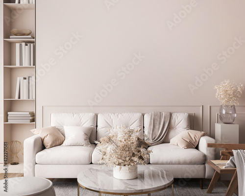 Obraz White sofa in living room interior mockup, natural wooden furniture and trendy home accessories on bright beige background, 3d render - fototapety do salonu