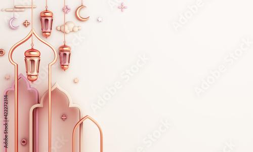 Foto Islamic decoration background with arabic window frame crescent lantern cartoon style, ramadan kareem, mawlid, iftar, isra miraj, eid al fitr adha, muharram, copy space text, 3D illustration