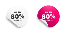 Up To 80 Percent Off Sale. Discount Offer Price Sign. Vector