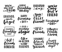 Happy Friendship Day Cute Hand Lettering Big Set. Best Friends Forever. Greeting Card Typography Template. Modern Calligraphy Design Elements, Quotes, Friend Phrase.