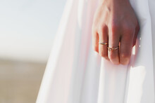 Hand Of A Bride With Golden Ring