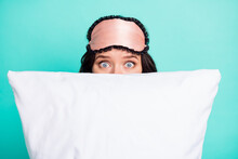 Photo Of Stressed Frightened Young Woman Sleepwear Hiding Behind White Big Pillow Isolated Turquoise Color Background