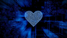 Love Technology Concept With Heart Symbol Against A Futuristic, Blue Digital Grid Background. Network Tech Wallpaper. 3D Render