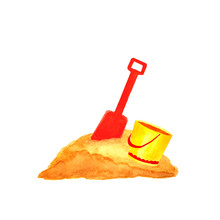 Watercolor Illustration Of A Bucket Of Sand And A Shovel. Isolated On A White Background.