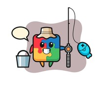 Mascot Character Of Puzzle As A Fisherman