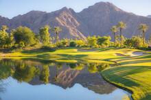 Beautiful Golden Light Over Indian Wells Golf Resort, A Desert Golf Course In Palm Springs, California, USA With View Of The San Bernardino Mountains.