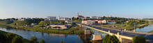 Panorama View Of Downtown Grodno Belarus. Business And Historical Center With Drama Theater, Boris And Gleb Or Kalozhskaya Church, Old Castle And New Castle Grodno Or Hrodna Visafree Europe City.