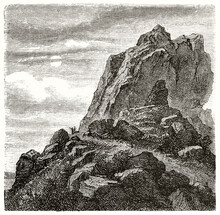 Limestone Cliff On A Dark Ambient Like Evening Or Sunset. Ancient Grey Tone Etching Style Art By Ferogio, Le Tour Du Monde, 1862