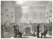 Novice Acceptance In A Mormon Church. Group Of Faithful In A High Squared Church. Ancient Grey Tone Etching Style Art By David, Le Tour Du Monde, 1862