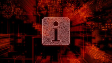 Information Technology Concept With Info Symbol Against A Futuristic, Orange Digital Grid Background. Network Tech Wallpaper. 3D Render