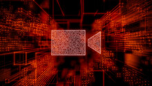 Video Camera Technology Concept With Recording Symbol Against A Futuristic, Orange Digital Grid Background. Network Tech Wallpaper. 3D Render