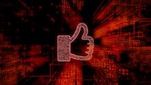 Social Media Technology Concept With Like Symbol Against A Futuristic, Orange Digital Grid Background. Network Tech Wallpaper. 3D Render