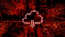 Data Storage Technology Concept With Cloud Download Symbol Against A Futuristic, Orange Digital Grid Background. Network Tech Wallpaper. 3D Render