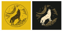 Howling Wolf Line Esoteric Alchemy Magic Space Illustration Design