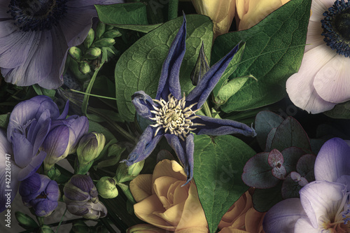 Fotografie, Obraz Gros plan sur une fleurs violette à six pétales dans un bouquet de fleurs