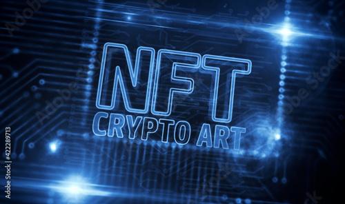 Fototapeta NFT Crypto Art technology symbol 3d illustration obraz