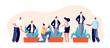 Mentoring concept. Inspiring professionals, corporate communication support. Successful businessman growth, utter mentorship vector banner