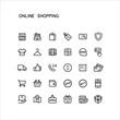 Outline Online Shopping Icons Editable Stroke stock illustration