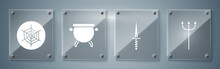 Set Neptune Trident, Dagger, Witch Cauldron And Spider Web. Square Glass Panels. Vector