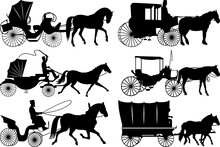 Carriages SVG Cut Files | Horse Carriage Silhouette | Stage Coach Svg | Vintage Carriages Bundle