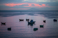Fishing Boats In Mui Ne Harbour, Vietnam. Sunset Time.
