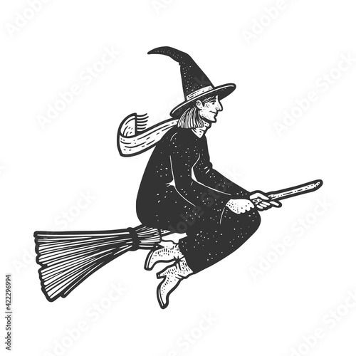 Fototapeta witch flying on a broom sketch engraving vector illustration