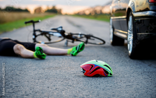Traffic accident between cyclist and a car