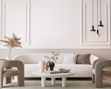 White Modern Living Room, Minimal Home Design Mockup On Empty Bright Background, 3d Render