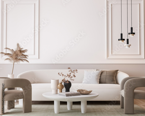 Fototapeta White modern living room, minimal home design mockup on empty bright background, 3d render obraz