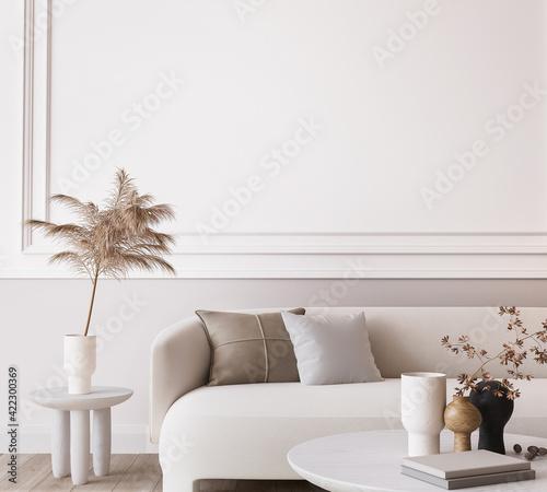 Fototapeta White modern living room, minimal home design mockup on empty bright background, 3d render obraz