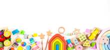 Baby Kids Toy Banner Background. Colorful Educational Toys On White Background. Top View, Flat Lay, Copy Space For Text