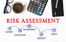 RISK ASSESSMENT CONCEPT. Office Desk With Accessories - Coffee, Notepad And Calculator.
